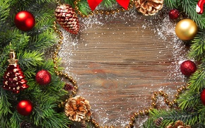 Picture decoration, toys, New Year, Branches, Balls, Bumps, Holidays, Template