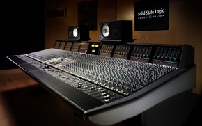 Picture REMOTE, SPEAKERS, REGULATORS, MIXER, SOUND, MUSIC, STUDIO