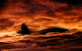Picture Sunset, The sky, Figure, fighter, Clouds, Russia, T-50, Aviation, BBC, multipurpose, PAK FA