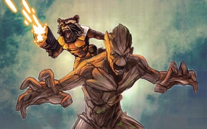 Picture Rocket, raccoon, Groot, guardians of the galaxy