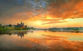 Picture the sky, river, morning, Staraya Ladoga