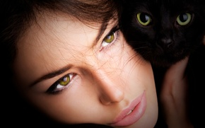 Picture cat, look, girl, brown hair, green-eyed