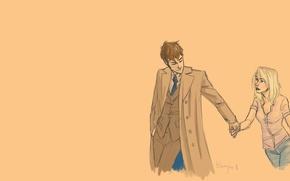 Picture girl, figure, art, blonde, male, coat, Doctor Who, Doctor Who, Tenth Doctor, Tenth Doctor, Rose …