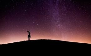 Picture night, silhouette, ballerina, starry sky