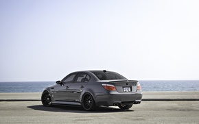 Picture grey, the ocean, bmw, BMW, rear view, grey, e60