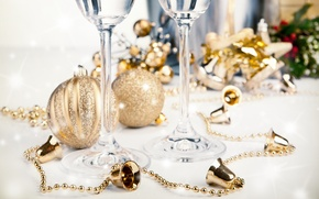Picture balls, glasses, tinsel, champagne, bells, Christmas decorations