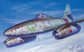 Picture war, art, painting, ww2, jet fighter, Messerschmitt Me 262 A-1a