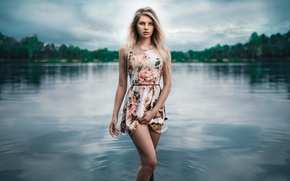 Picture girl, dress, legs, in the water, Lods Franck, Angy, alone on the lake