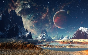 Picture mountains, night, planet, stars, dreamworld