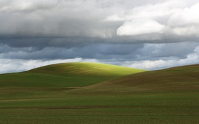 Picture green, clouds, hills, farmland, countryside scene