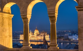 Picture night, lights, river, columns, Parliament, Hungary, Budapest, The Danube