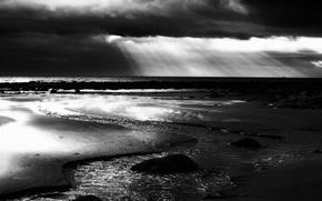 Wallpaper sea, clouds, river, Black and white