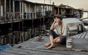Picture girl, pose, model, portrait, hat, blonde, shirt, pitcher, sitting, the bridge, young, water, pants, pigtail, ...