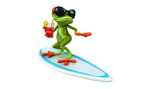 Picture frog, frog, surf, funny, glasses