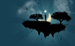 Wallpaper vector, trees, the moon, Island