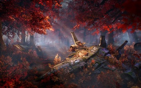 Picture autumn, forest, trees, ship, art, sci-fi