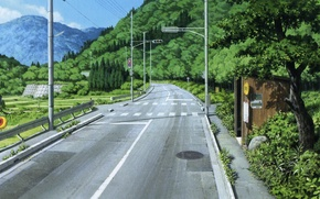 Picture road, forest, summer, markup, hills, posts, wire, traffic light, the transition, stop, welcome to the …