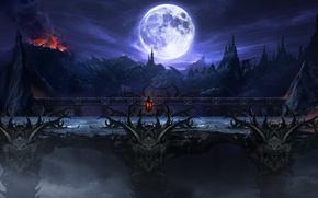 Picture landscape, night, bridge, castle, rocks, the moon, the volcano, art, mortal kombat