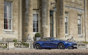 Picture Aston Martin, Blue, Wheel, The building, Car, Vanquish, Side view, AM310