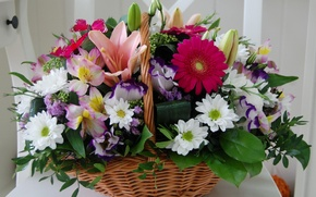 Picture photo, Flowers, Basket, Bouquet, Gerbera, Chrysanthemum, Lily