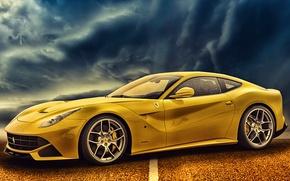 Picture road, Ferrari, car, yellow, F12berlinetta