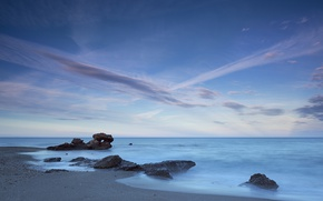 Picture sea, the sky, coast, horizon, Spain, Andalusia, Mojacar Playa, Almeria