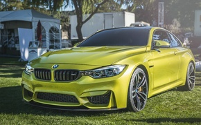 Picture car, yellow, BMW
