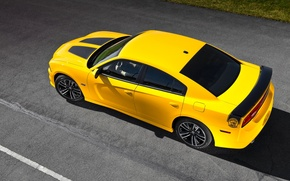 Picture Auto, Yellow, Dodge, Asphalt, Dodge, SRT8, Charger, The view from the top, Super Bee