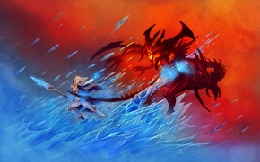 Picture ice, fire, the demon, MAG, World of Warcraft, fantasy, Warcraft, blizzard, diablo, wow, Jaina Proudmoore, ...