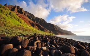 Wallpaper sea, mountains, stones