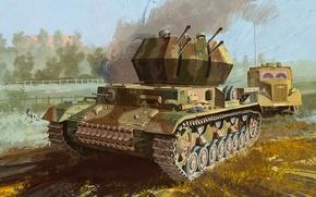 "Picture war, art, painting, tank, ww2, flak, Flakpanzer IV Ausf.G ""Whirlwind"""