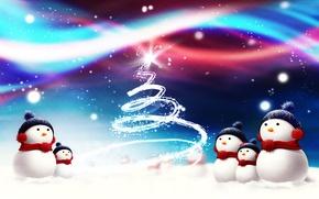 Picture snow, tree, snowmen
