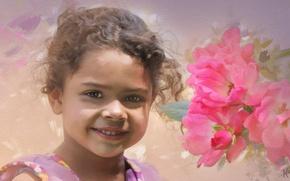 Wallpaper girl, smile, curls, roses