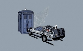 Picture crash, machine, booth, car, Back to the future, The DeLorean, police, Doctor Who, The TARDIS, …