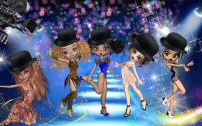 Picture girls, cartoon, dancing, Doll, girls, shiny, cartoon, dancing, shiny, Dolls, Charleston
