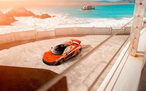 Picture McLaren, Orange, Car, Front, Beauty, Sea, Supercar