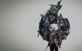 Picture monsters, battle, demons, Herald, The Witcher 3