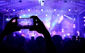 Picture macro, lights, music, scene, blur, devices, concert, hall, colorful, the audience, hi-tech, bokeh, smartphone, wallpaper., ...