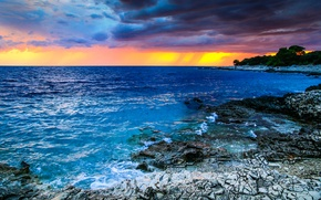 Wallpaper Croatia, coast, sea, clouds, the sky, horizon, stones, sunset