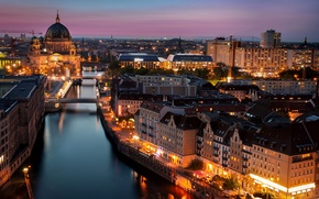 Picture lighting, architecture, the city, lights, the evening, building, river, Berlin, Spree, Berlin, Berlin Cathedral, The ...