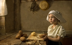 Picture styling, girl, cook, Renaissance, imitation, the art style