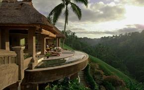 Picture landscape, nature, house, palm trees, House, Deck, Palm Trees, Tropical, Sunlight