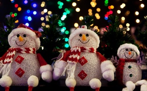 Picture decoration, lights, tree, Christmas, New year, tree, Christmas, Snowmen