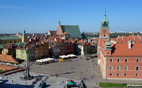 Wallpaper the sky, home, area, Poland, Warsaw, Royal Palace, the view of the old town, the ...
