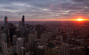 Picture sunset, city, the city, skyscrapers, Chicago, USA, sunset, usa, chicago, skyscrapers