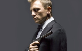 Picture gun, actor, Daniel Craig, muffler, tuxedo, James Bond, Daniel Craig, agent 007, walther ppk