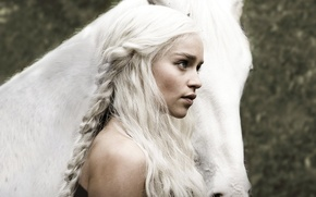 Wallpaper girl, hair, horse, actress, Game of Thrones, Khaleesi, Game of thrones, Emilia Clarke, Daenerys Targaryen