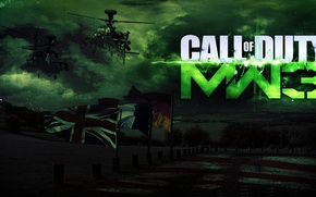 Wallpaper the sky, helicopters, banners, shooter, modern warfare 3