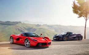 Wallpaper McLaren, Ferrari, Red, Sky, Power, Front, Black, Sun, Supercars, Road, LaFerrari, Lead, Moutian