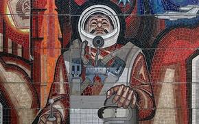 Picture astronaut, USSR, mosaic, Bender